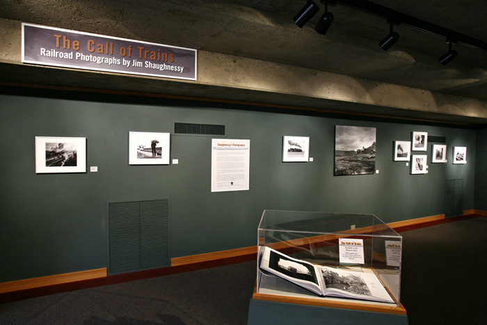 "Installation of the exhibition ""Call of Trains: Railroad Photographs by Jim Shaughnessy"" at the California State Railroad Museum"