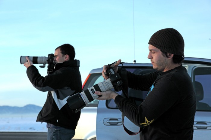 Mike Johannessen and Justin Tognetti photographing in Nevada. Photo by Mel Patrick