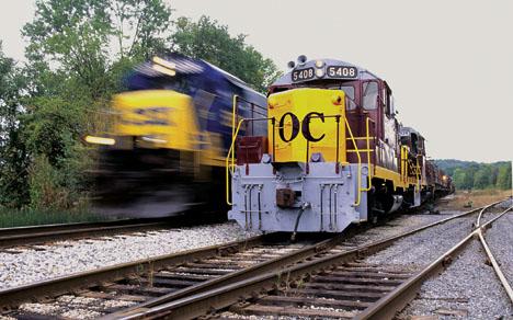CSX and Ohio Central trains, photo by John B. Corns