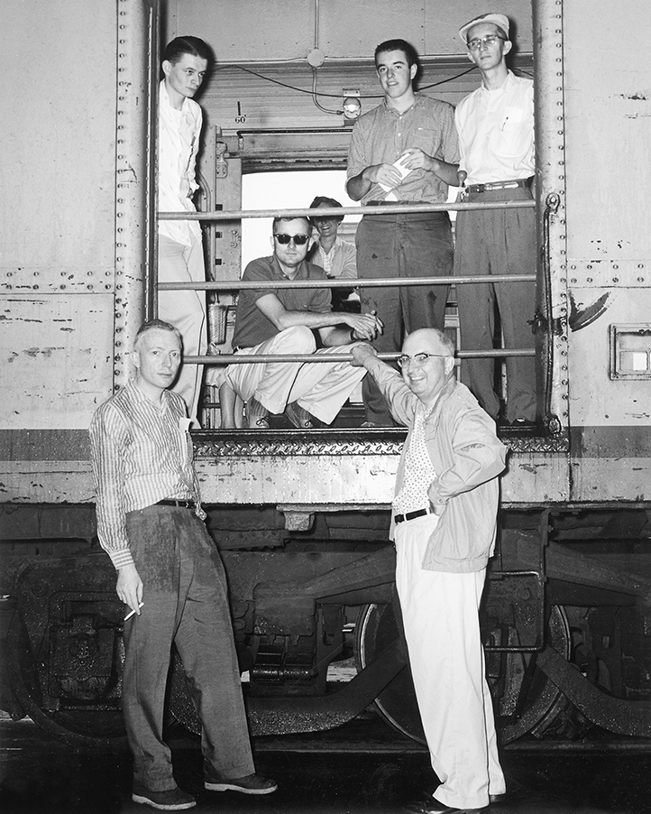 Ted Rose and other staff members of Trains magazine