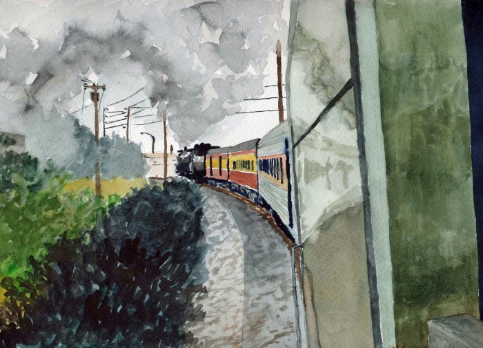 Painting of a steam train excursion